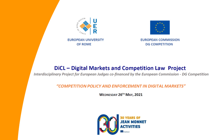 DiCL Project – 26th May – Competition policy and enforcement in digital markets